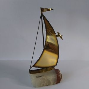 VTG 70's DeMott Brass and Onyx Nautical Sculpture